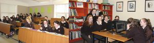 Loreto girls in classroom and computer room