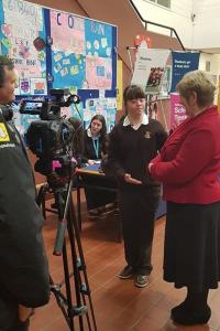 Loreto Letterkenny Student being filmed by Bank of Ireland TV crew