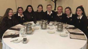 Loreto Letterkenny Mini Company students around dinner table lough eske