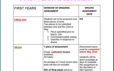 Assessment Tests for 1st, 2nd & 5th Years