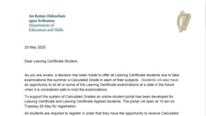 Leaving Cert Student letter from Dpt of Education