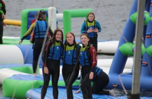 TY students on inflatables